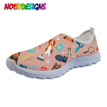 NOISYDESIGNS 3D Veterinary Surgeon Pattern Flats Women Shoes Summer Fashion Comfortable Mesh Ladies Sneakers Woman 2019