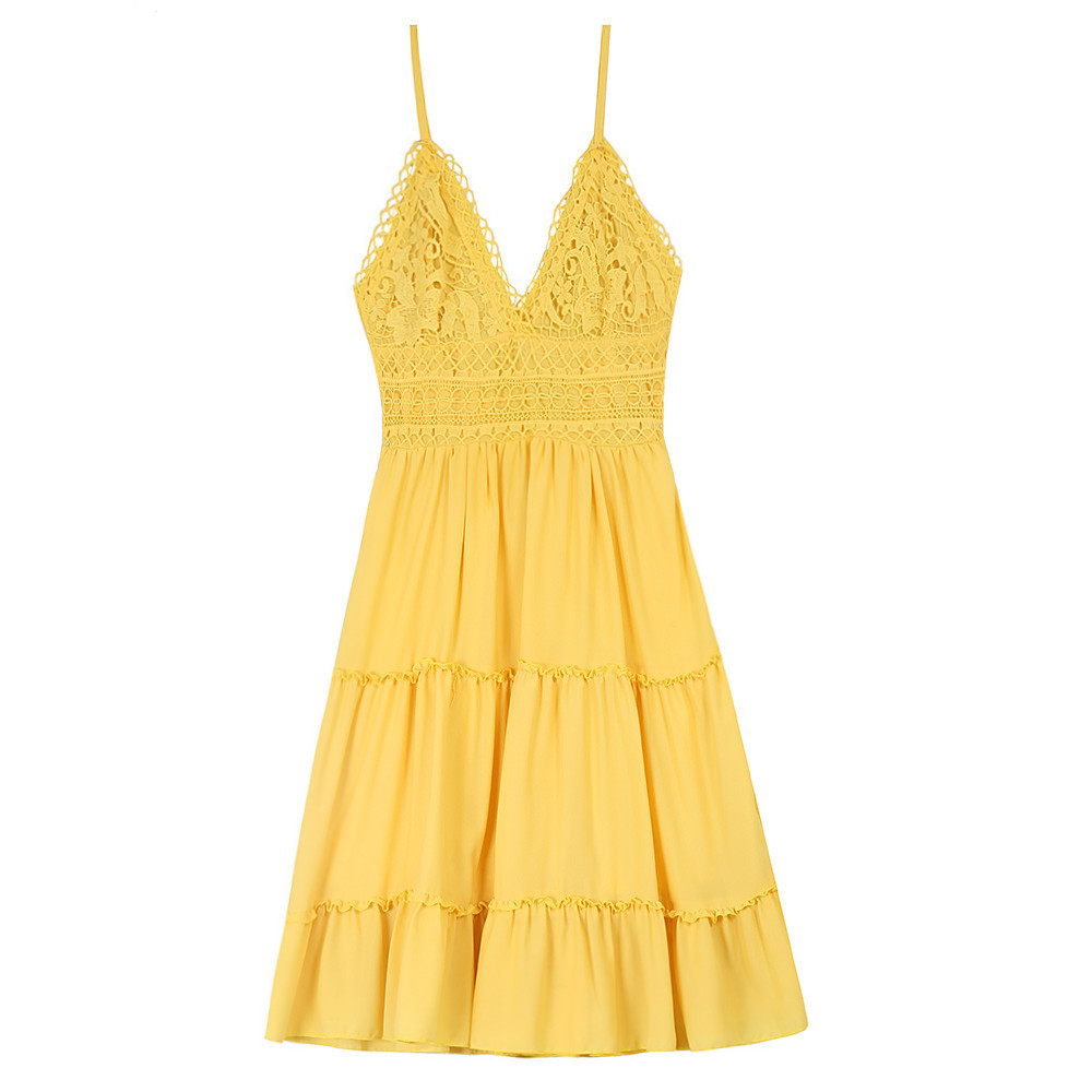 Yellow Dress Summer Robe Black White Beach V Neck Backless Sexy Sundress Plus Size 5XL Femme Bow A-Line