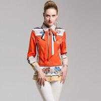 High Quality Autumn Designer Blouse Women Long Sleeve Bow Fashion Shirts Office Ladies Elegant Printing Tops
