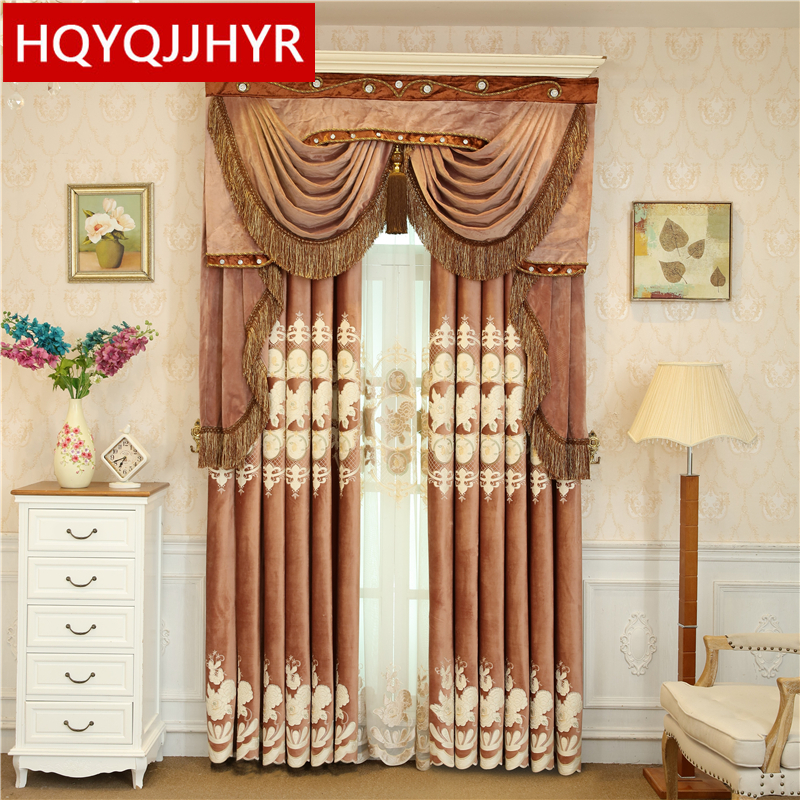 European royal noble top velvet embroidered blackout curtains for the living room luxury custom curtains for bedroom hotel
