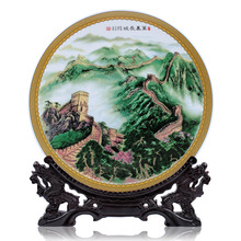 35 cm Jingdezhen ceramics plate hanging plate Home Furnishing the Great Wall rose decoration crafts decoration