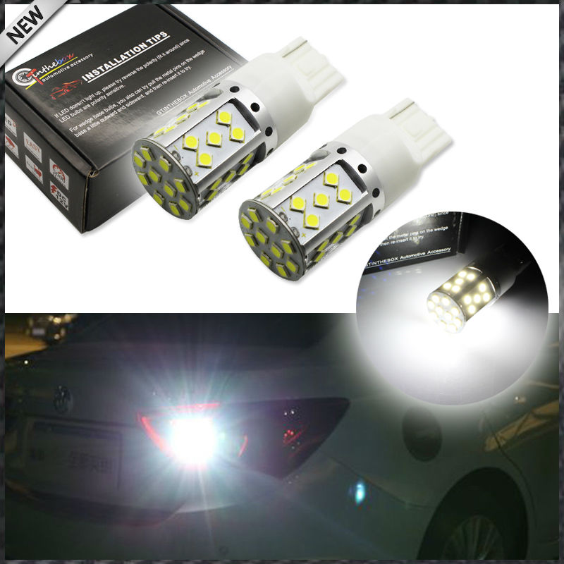 2pcs Error Free Super Bright 15W 35-SMD 7440 7444 T20 LED Replacement Bulbs For Euro Car Backup Reverse Lights, Xenon White update 12w super bright canbus cree r5 led backup light t20 7440 w21w 360 lighting car lights no error