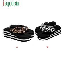 Hot Sale High quality Women Zebra-stripe Sandal Platform Wedges Flip Flops Home Slippers  Shoes Wholesale DE29