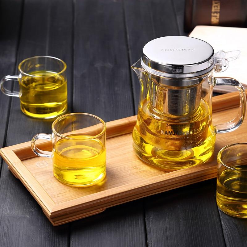free shipping Kamjove new style tea cup flower tea pot heat resistant glass tea set brewing
