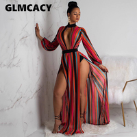 Women Striped V Neck Long Maxi Dress Sexy Split Long Sleeve Lace Dresses Hollow Out Night Clubwear Club Female Vestidos 2019
