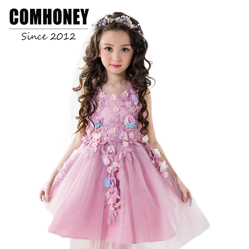 Children Dresses for Girls Party and Wedding Purple Sleeveless Kids Birthday Princess Lace Dress Floral Robe Kids Teens Clothes
