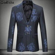 GODLIKE 2017 autumn Men's casual fashion flower color jackets Blazer Men's High quality Blazers suits coat men big size M-6XL