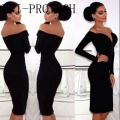 Sexy Black Long Sleeve Cocktail Dresses Knee Length 2016 Off Shoulder Women Coctail Party Prom Dresses vestido de festa curto