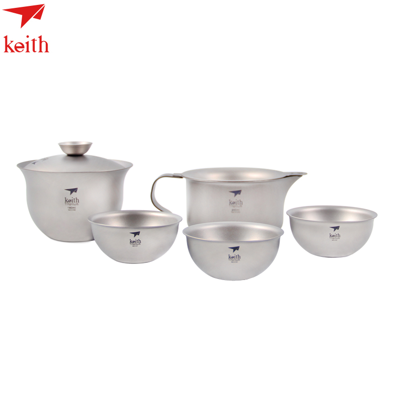 Keith Titanium 6Pcs In 1 Kong Fu Tea Set Portable Outdoor Camping Cup Drinkware Chinese Tea Set Ultralight Only 225g