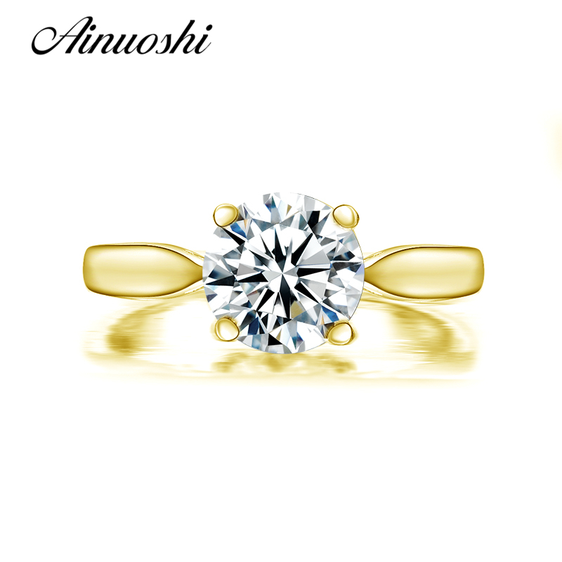 AINUOSHI 10k Solid Yellow Gold Engagement Rings Classic 4 Prongs Lover Promise Bague Bijoux Simualted Diamond Women Wedding RingAINUOSHI 10k Solid Yellow Gold Engagement Rings Classic 4 Prongs Lover Promise Bague Bijoux Simualted Diamond Women Wedding Ring