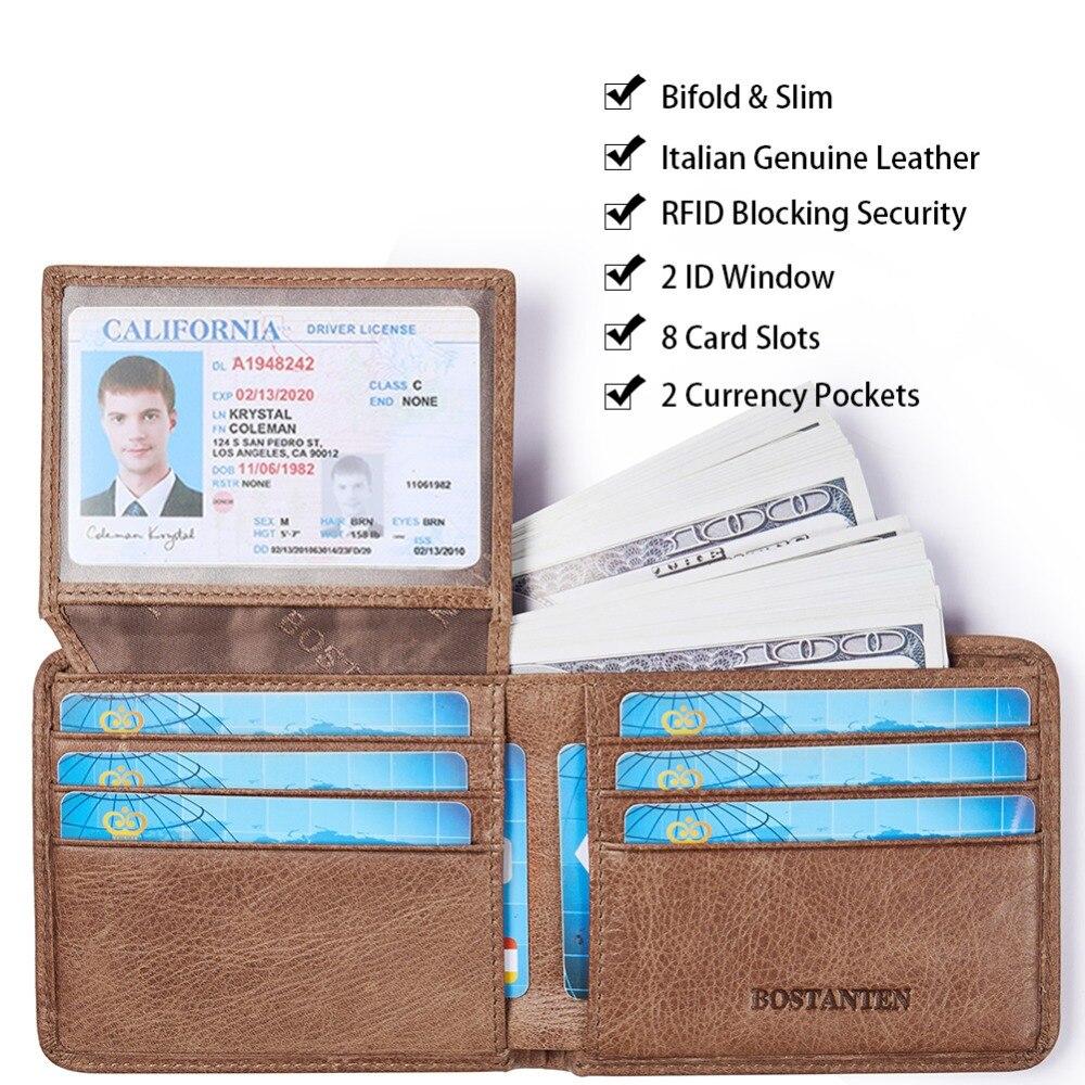 BOSTANTEN, Мужской винтажный кредитный держатель для карт, блокировка Rfid, кошелек, Geunine, кожа, унисекс, безопасность, информация, кошелек с коробкой