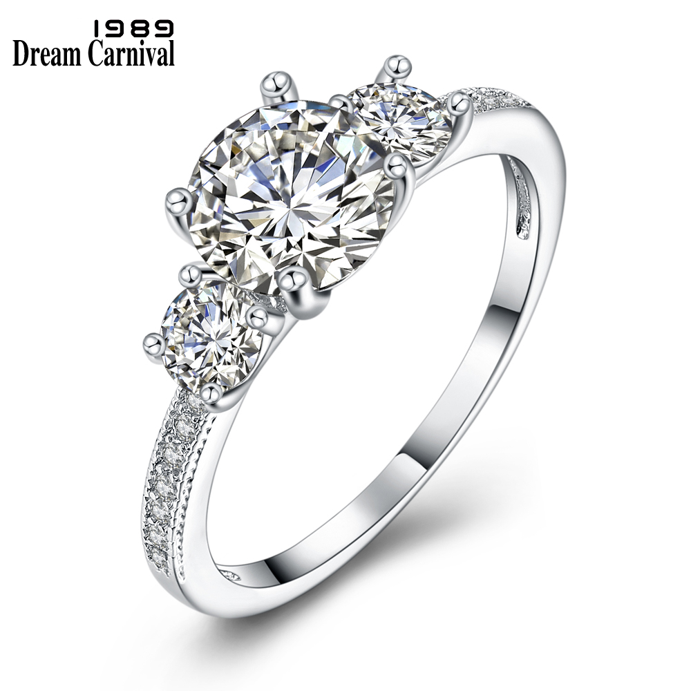 Dreamcarnival1989 CZ Rings Jewelry Sparkling Rhodium-Color Women Bagues Gift Anniversary