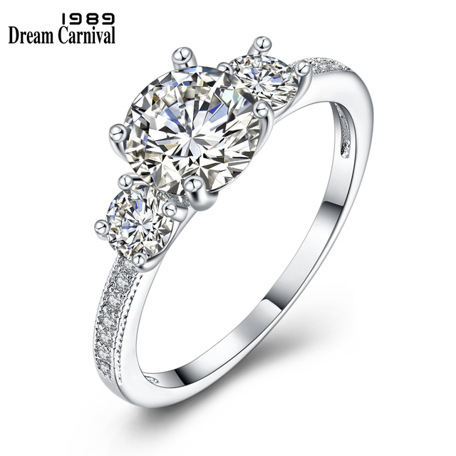 DreamCarnival1989 Sparkling CZ Rings for Women Jewelry Anniversary Gift Rhodium