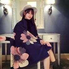 Mingjiebihuo新しいカシミヤショールポンチョ付きスリーブ女性で秋と冬厚く暖かい両面固体房マント女の子