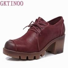 Women Pumps Platform-Shoes Lace-Up High-Heels Thick Plus-Size Genuine-Leather New-Fashion