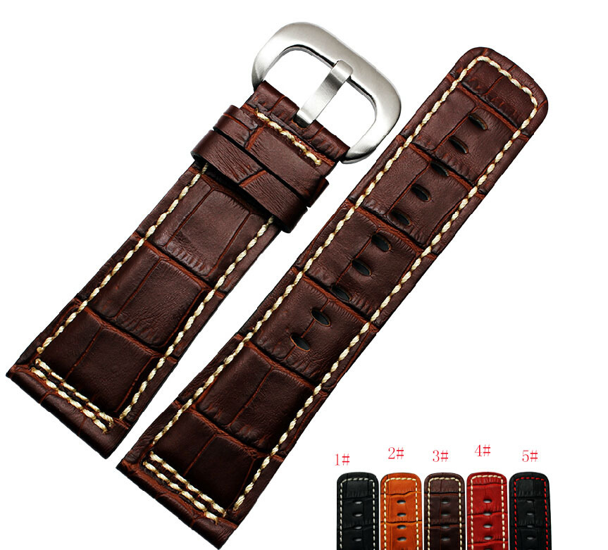 28mm Black Alligator Grain Genuine Leather Watch Band Strap Bracelets Brushed Depolyment Buckle Clasp Free Shipping