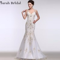 Luxury Gold Embroidery Mermaid Wedding Dresses Deep V Neck 2016 New Arrival Beading Pearls Illusion Bridal