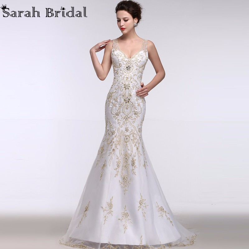 luxury Gold Embroidery Mermaid Wedding Dresses Deep V-neck 2016 New Arrival Beading Pearls Illusion Bridal Gowns robe de soiree