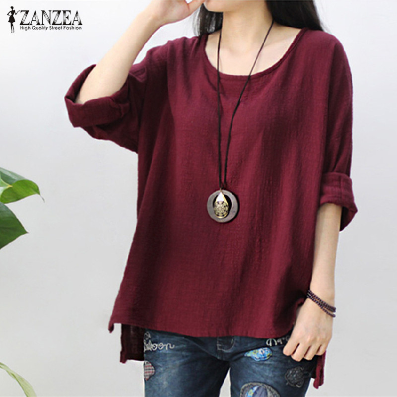 2018 ZANZEA Retro Womens O Hals Lange Mouw Split Baggy Katoen Effen Casual Losse Effen Tops Shirt Party Blouse Blusas Plus Size