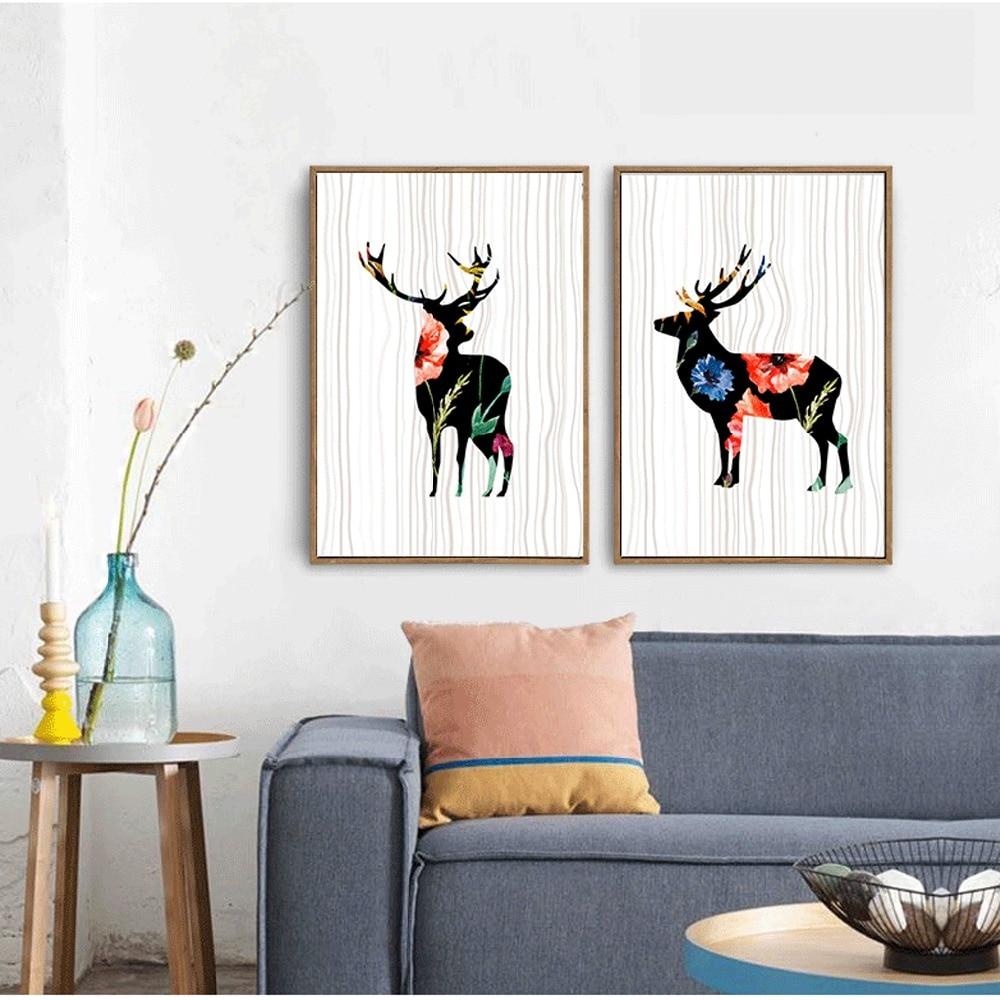Geometric Purple Deer Wall Art Print Modern Poster Buck: Watercolor Background Geometric Wall Painting Canvas