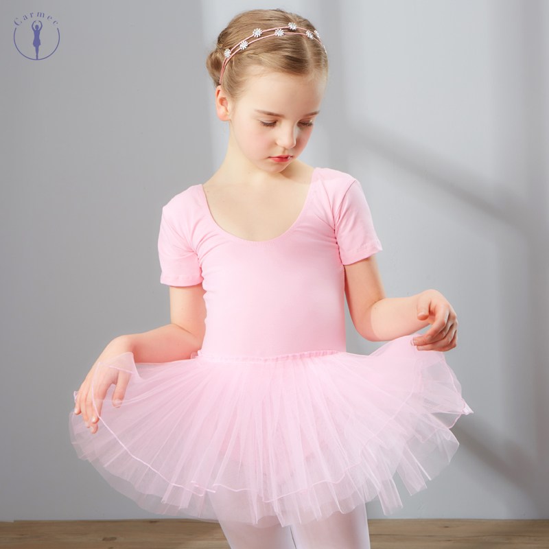 Combed Cotton Ballet Dress Dance Dress Tutu Dress For Girls Kids Children High Quality Short Sleeves Tulle Dance Wear