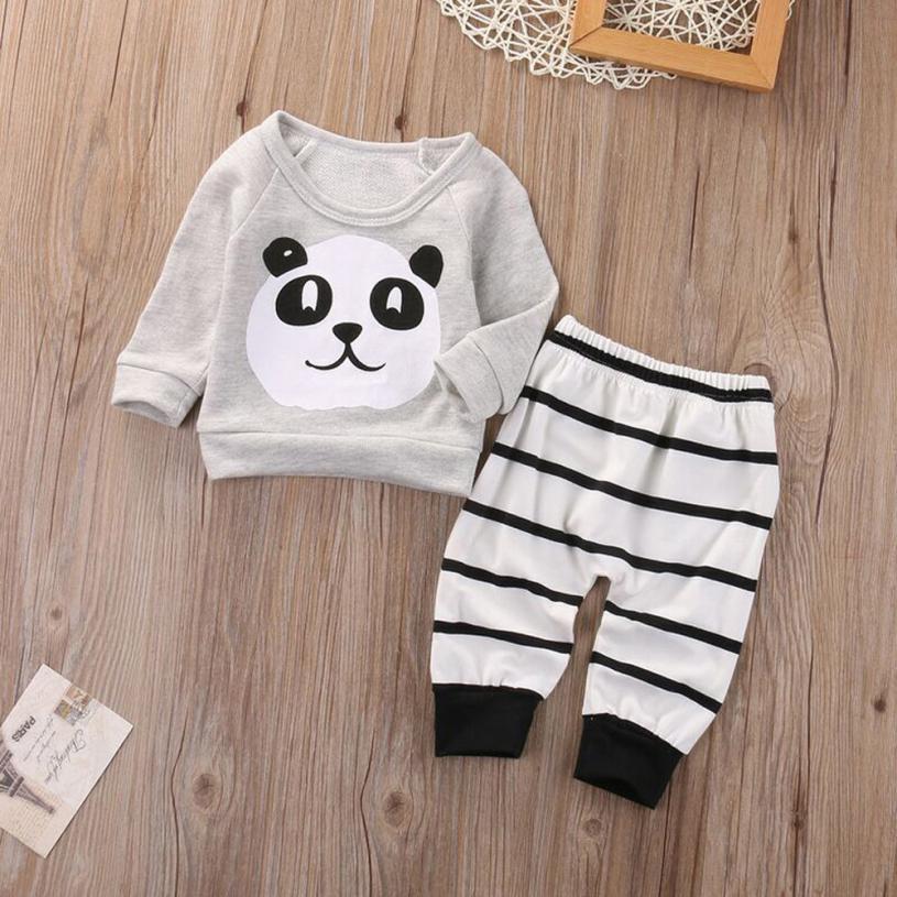 Newborn Baby Girls Boys Panda Tops Shirt Stripe Pants 2PCS Outfits Set Clothes Aug 16