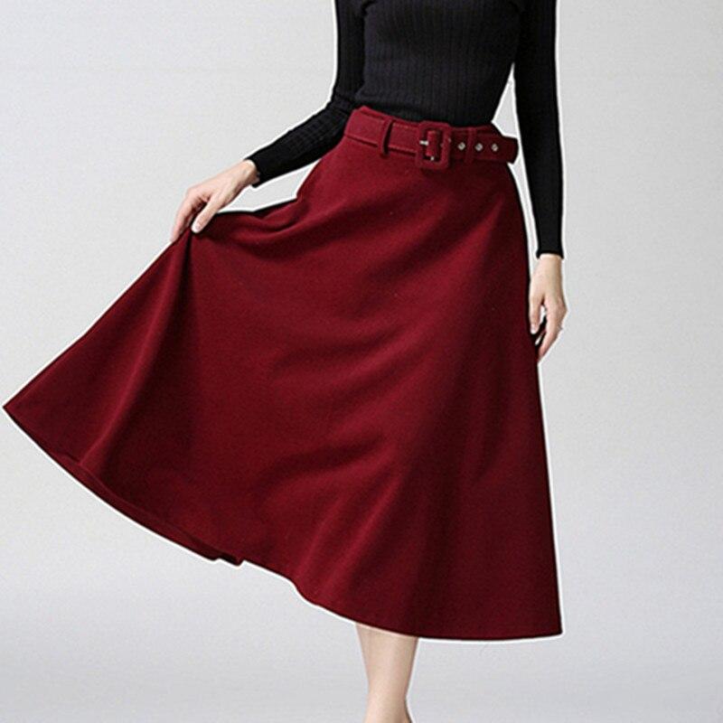 1745 Femenina Delgada red Okxgnz Línea Midi dark De Swing 2018 khaki Para Lana Wine Cinturón Mujer Gran Falda Grey Faldas Invierno E Black Moda Largas Otoño A La ORqZ1x