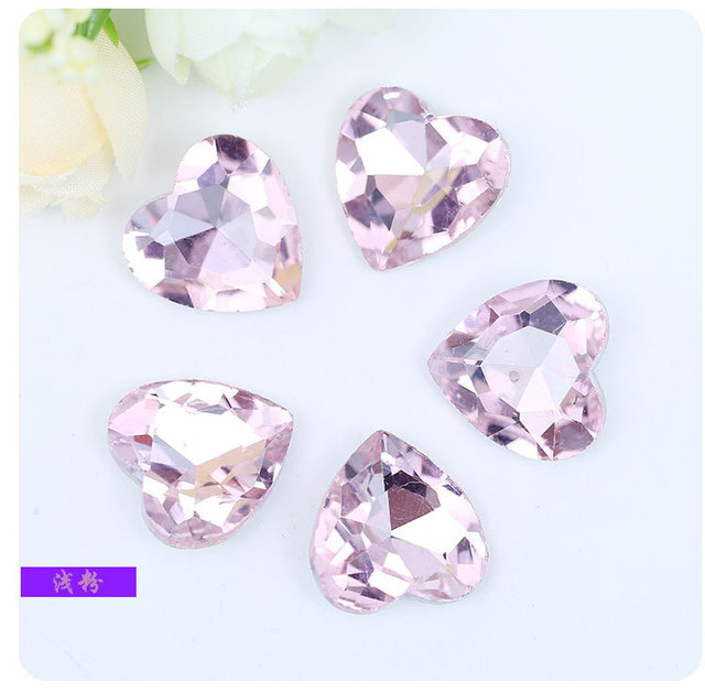 Pink heart-shaped Pointed bottom glass crystal rhinestones DIY Wedding dress  and headpiece jewelry accessories 20pcs pack c07865cae010