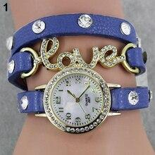 Hot Sales Hot-sale Women's Love CZ Dial Wrap Around Leather Bracelet Wrist Watch