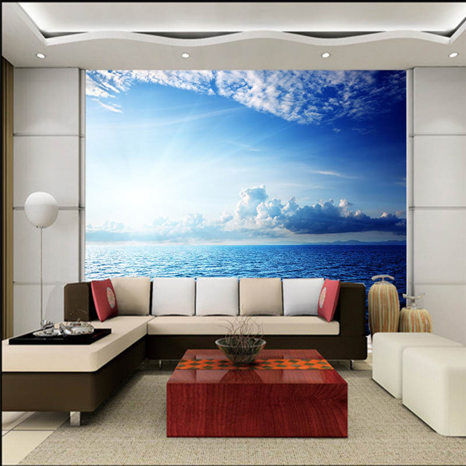 wall murals office. Blue Sky Seaside Cloud DIY Nature Wallpaper 3d Wall Mural Rolls Hotel Restaurant Cafe Hall Office Livingroom Bedroom Decor-in Wallpapers From Home Murals