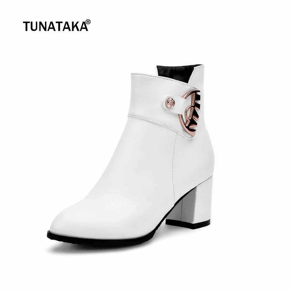 Women Thick High Heel Ankle Boots Fashion Pointed Toe Winter Casual Shoes Woman White Black Beige camel camel boots cowhide thick heel rivet velvet fashion pointed toe boots vintage casual thermal boots