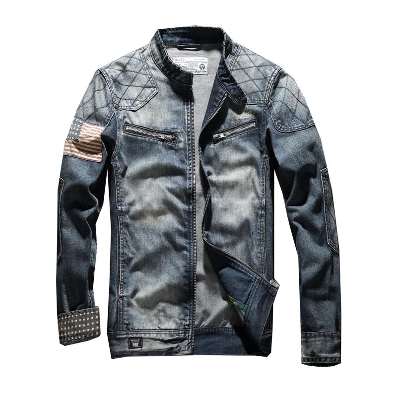 Модная Джинсовая куртка мужская джинсовая куртка над пальто одежда с воротником стойкой
