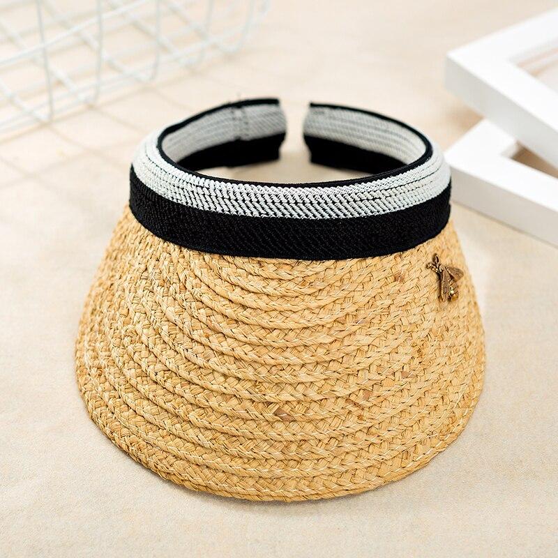 2019 nouveau femme soleil chapeaux femme Bowknot visière casquettes fait à la main bricolage paille été casquette décontracté ombre chapeau casquette de plage raphia