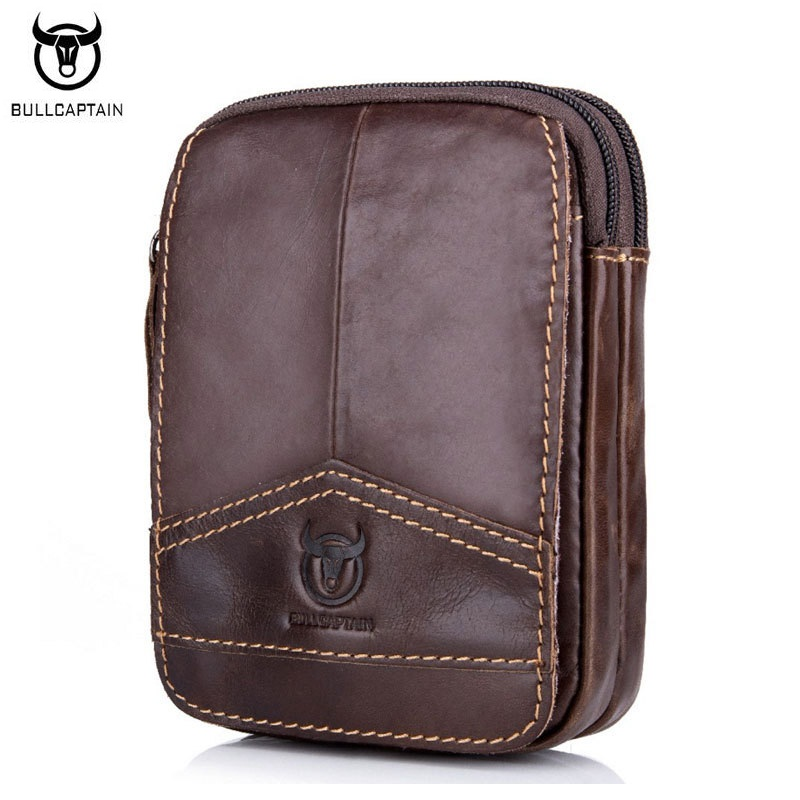 BULLCAPTAIN Fashion Mens Waist Packs Bag Äkta Läder Small Man Bag - Bälten väskor - Foto 5