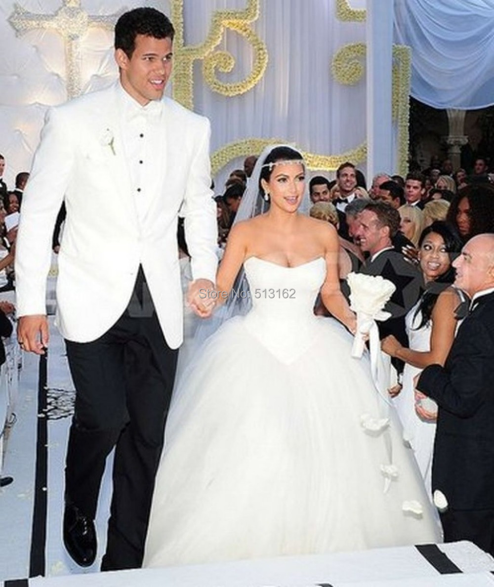 Fashion Hot Sale Kim Kardashian Celebrity Bridal Gowns Lace Puffy ...