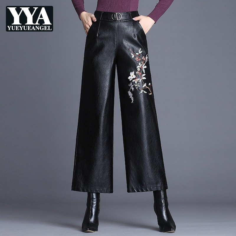Elegant Fashion Autumn Winter Black Wide Leg Pants High Waist Embroider PU Faux Leather Pants Loose Plus Size 4XL Trousers Women