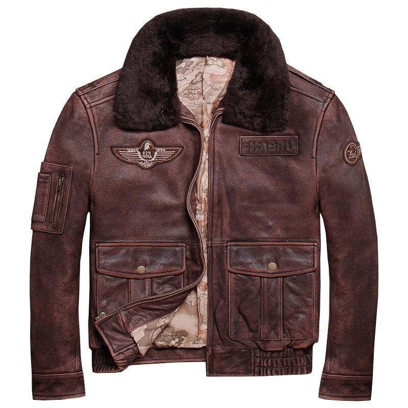2019 ретро коричневый для мужчин Второй мировой войны Военная Униформа пилот кожаная куртка плюс размеры 5XL из натуральной толстой воловьей к