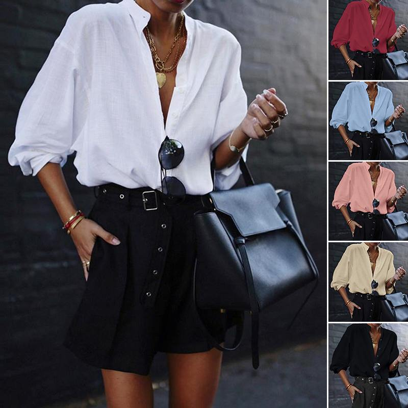 VONDA New Women Blouses 19 Summer Office Lady White Shirts Lantern Sleeve Buttons Deep V Neck White Blouse Sexy Plus Size Tops 5