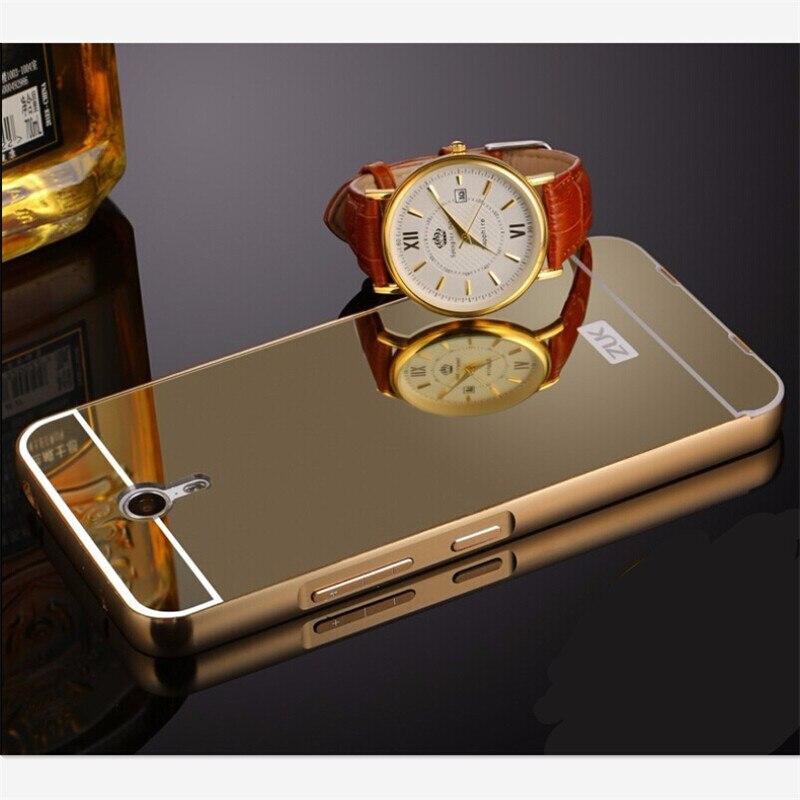 Para lenovo zuk z1 lujo espejo de marco de metal de aluminio chapado en oro caja