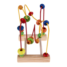 Counting Circles Bead Abacus Wire Maze Roller Kids Math Toy Coaster Wooden Montessori Educational Toy