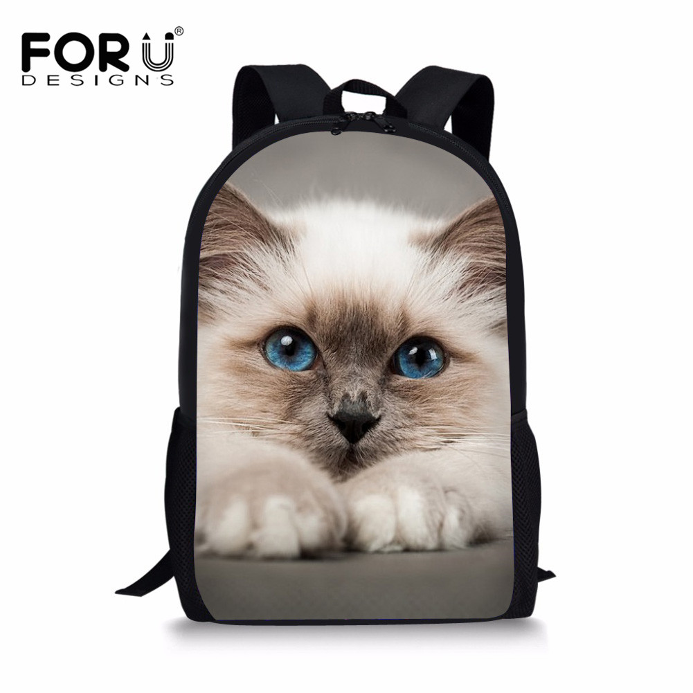 FORUDESIGNS Kawaii Siamese Cat School Bags for Boys Girls Children Primary Students Backpacks Schoolbag Kids Book Bag 3d Animals