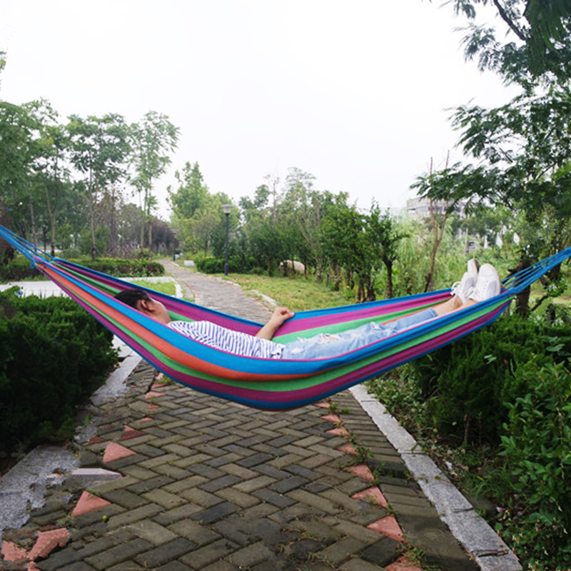 4 Colour 1 Person Comfortable Stripe Camping Hammock for Traveling Bushwalking Outdoors Leisure Canvas Hamac Single-person Hamak thicken canvas single camping hammock outdoors durable breathable 280x80cm hammocks like parachute for traveling bushwalking