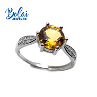 Bolaijewelry,natural citrine,green amethyst, sky topaz and amethyst gemstone round 8mm ring 925 sterling silver jewelry for wome