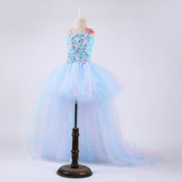Kids Flower Fairy Wedding Dresses 2019 Girls Bowknot Pearl Christmas Party Dress Children Clothes Girl Tutu Dress with Long Tail