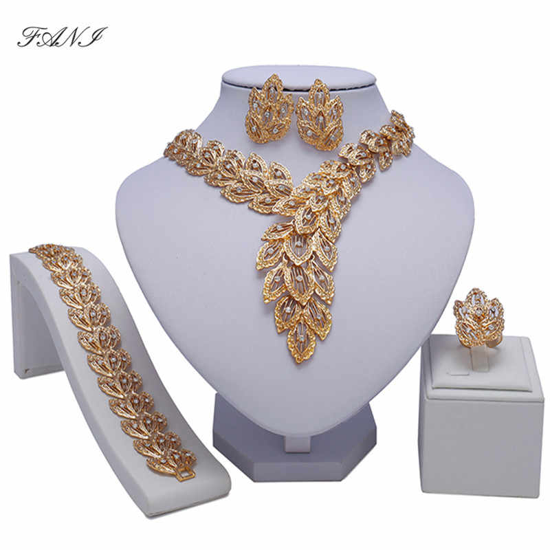 Fani Bridal Gift Nigerian Woman Wedding African Beads Jewelry Set Brand Dubai Gold Colorful Jewelry Sets Wholesale  design