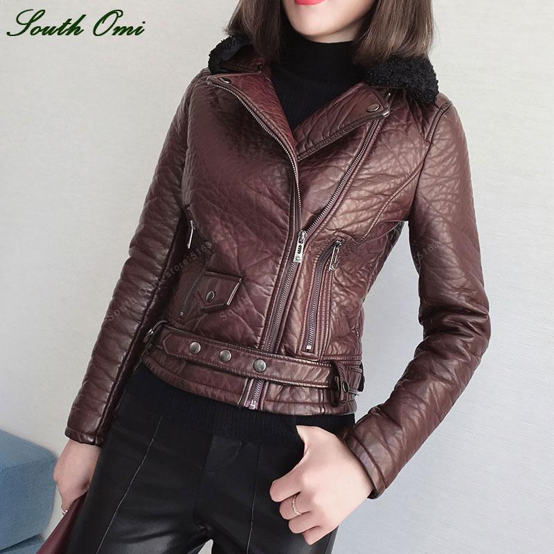 Women s Fur Leather Jacket Winter Coat Female Moto Outwear Lapel collar Coat jaquetas couro veste