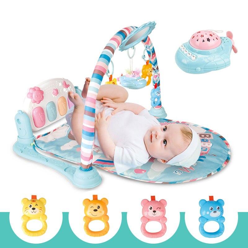 Meibeile enfants jouets éducatifs tapis de cloche musicale multifonction Fitness Rack Piano jouer Gym bébé tapis avec Projection avion miroir