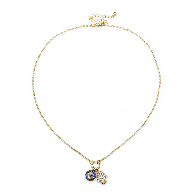 High quality crystal hamsa hand blue evil eye charm pendant gold high quality crystal hamsa hand blue evil eye charm pendant gold alloy metal chain choker necklace mozeypictures Images