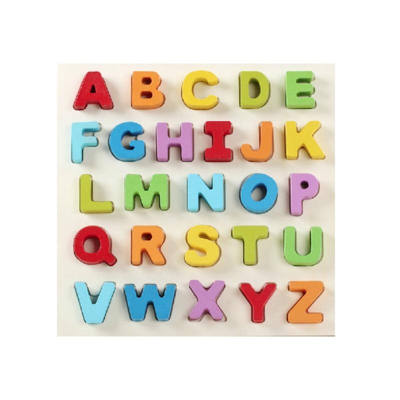 Enfants Enfants de Alphabet Puzzle Jouets Main Bord Grab En Bois Contreplaqué Puzzle pour Enfants Numérique Cognition Apprentissage Cadeaux