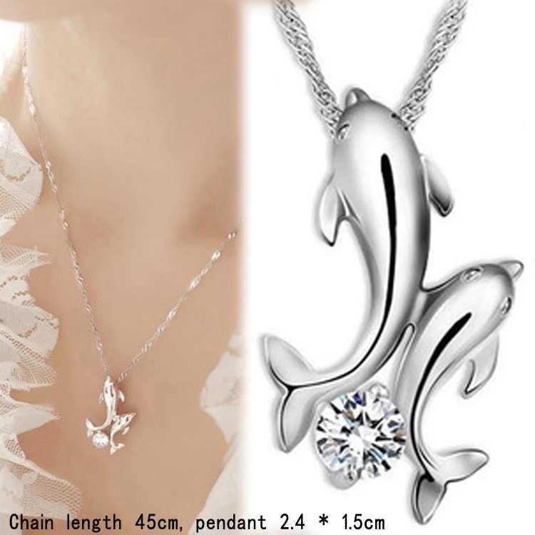 Gambar Rhinestones Tergabung ganda Dolphin Rantai Pendek Liontin Kalung Warna Perak Disepuh Charming Perhiasan